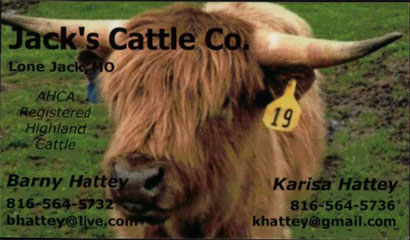 Jack's Cattle Co. Business Card