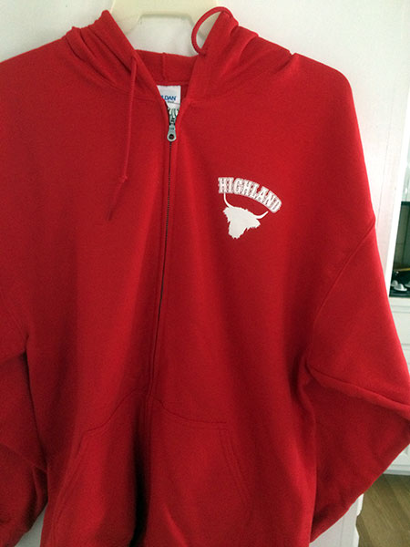 HHCA Zippered Hoodie Red - Front